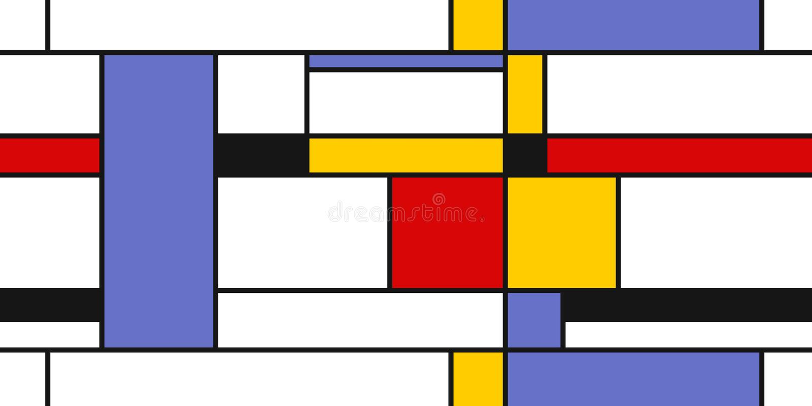 Mondrian style art. Seamless modern geometric background. Textile or gift paper design stock illustration