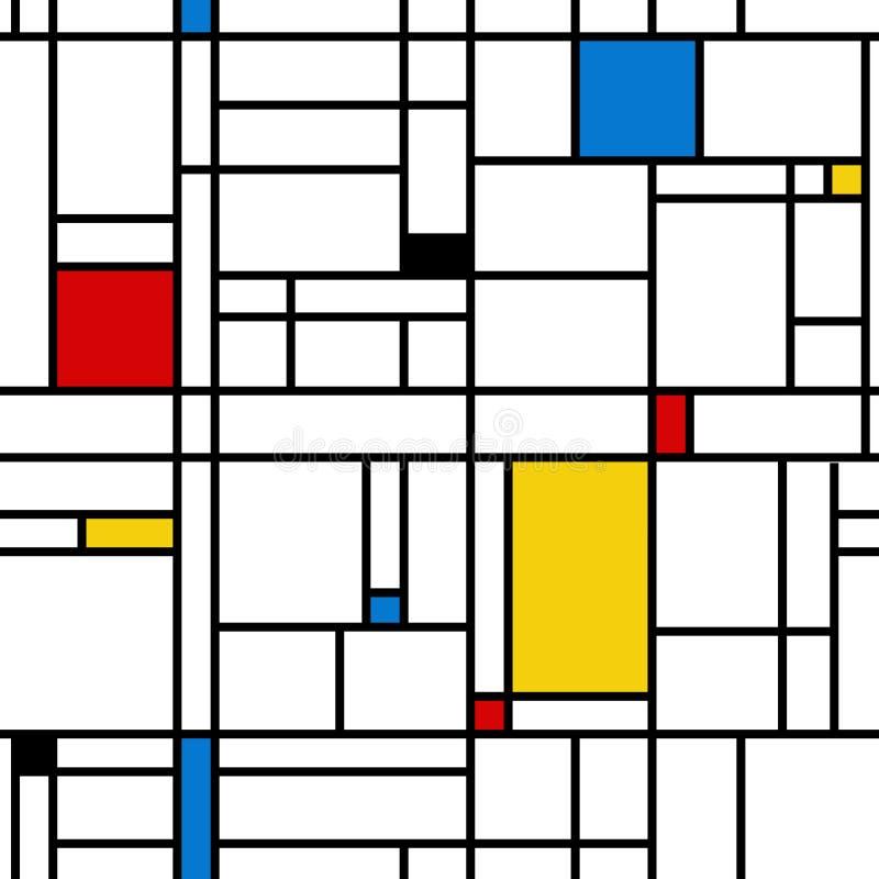 Mondrian stylu abstrakcjonistyczny geometryczny bezszwowy wzór royalty ilustracja