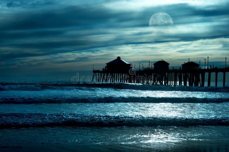 Mondschein auf dem Strand stockfotografie