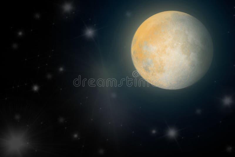 Mondschein im nächtlichen Himmel in der Galaxie vektor abbildung