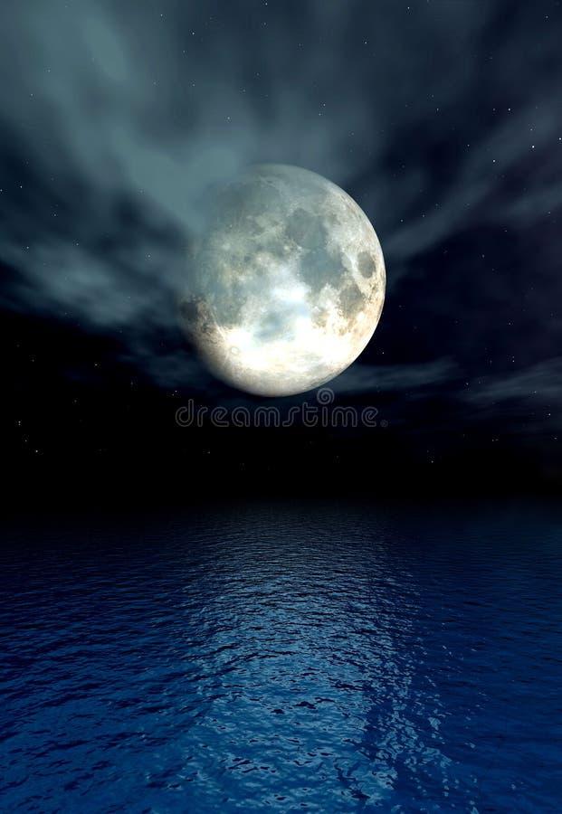Mondschein-Ozean lizenzfreie abbildung