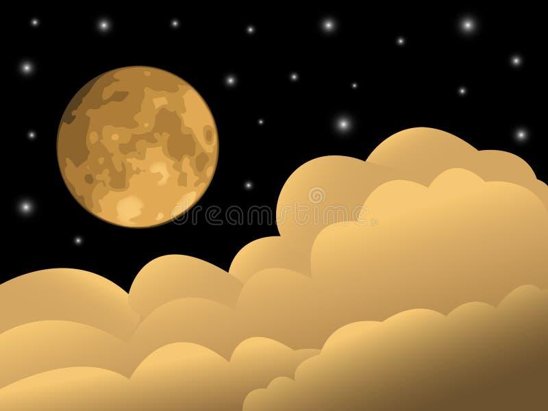 Mondschein, Sterne und Wolken. lizenzfreie abbildung