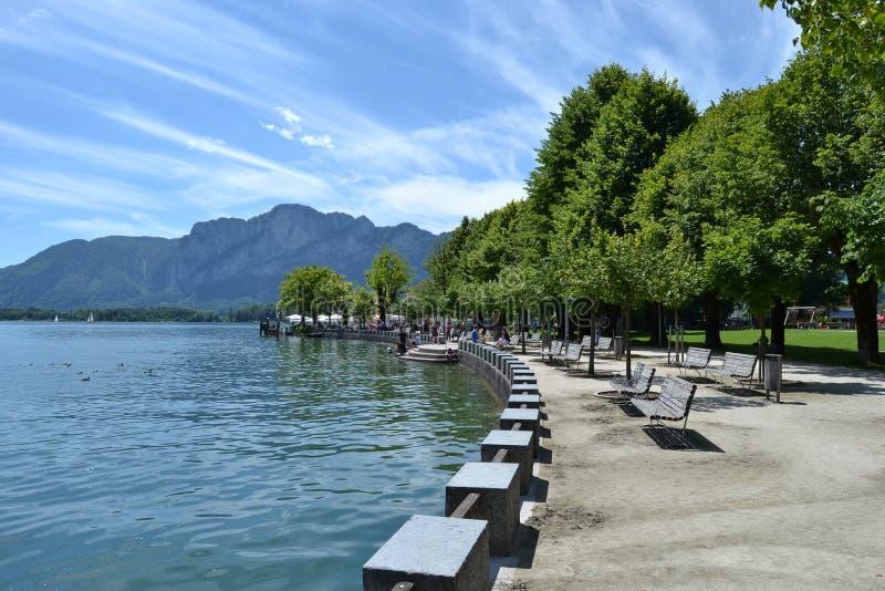 Mondsee in Austria in summer stock photos