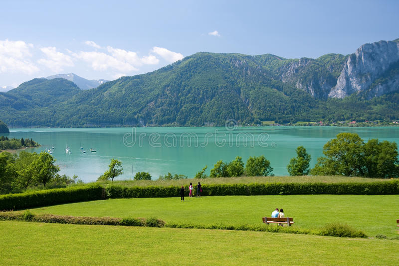 Mondsee lake royalty free stock photo