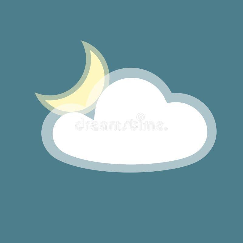 Mondwolkenikonen-Element einfacher App lokalisierte Symbol auf flachem Gestaltungselement blaue des Hintergrund Ikonenwolkigen we vektor abbildung