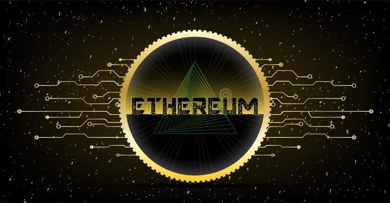 Moneda acanalada de oro de Ethereum con el texto y el backgroun negro amarillo stock de ilustración