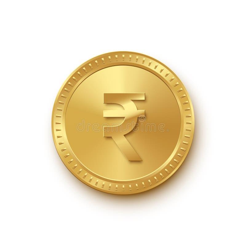 Moneda aislada de oro de la rupia en el fondo blanco Elemento del diseño de las finanzas del vector stock de ilustración