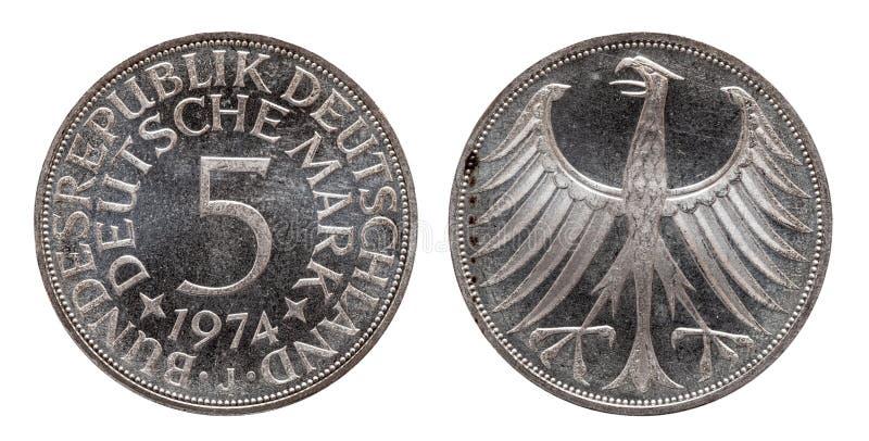 Moneda alemana cinco de Alemania 5 marcas, moneda de la circulación, de plata, acuñada 1974 imagen de archivo libre de regalías