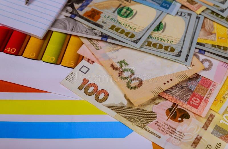 Moneda americana, ucraniana de los billetes de banco Dinero y concepto de las finanzas imagen de archivo libre de regalías