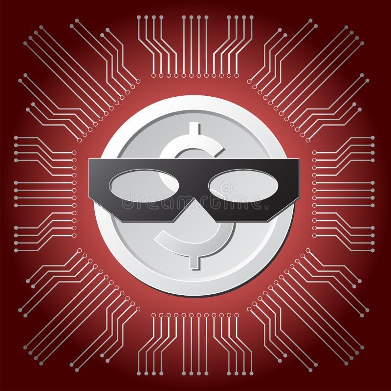 Moneda blanca del dólar con la máscara negra del ladrón en fondo rojo del circuito del consejo principal ilustración del vector