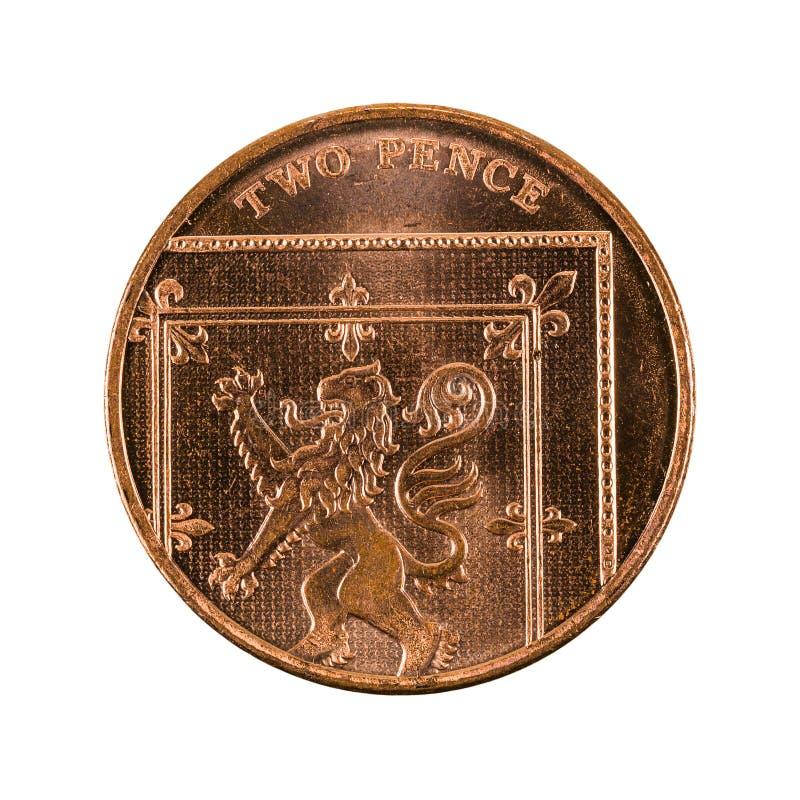 Moneda británica 2015 de dos peniques aislada imagen de archivo
