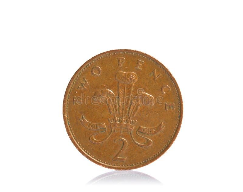 Moneda BRITÁNICA de los peniques del cobre dos fotografía de archivo