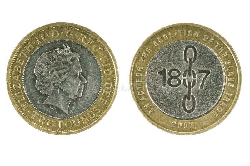 Moneda británica dos libras foto de archivo