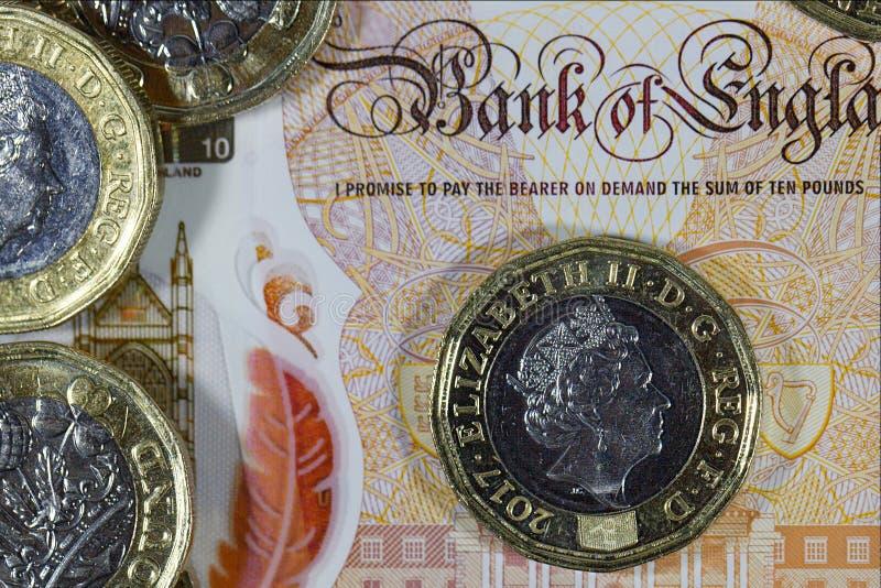 Moneda británica - nuevo polímero nota de diez libras foto de archivo