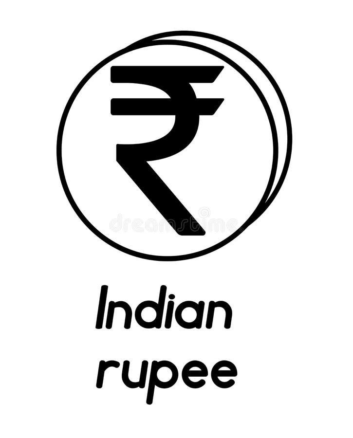 Moneda con la muestra de la rupia india ilustración del vector