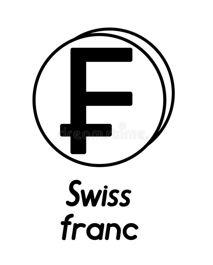 Moneda con la muestra del franco suizo ilustración del vector