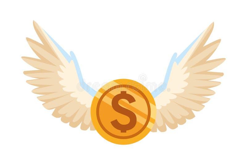 Moneda con las alas stock de ilustración