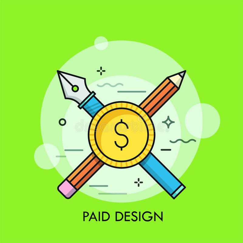Moneda cruzada de la pluma, del lápiz y del dólar ilustración del vector