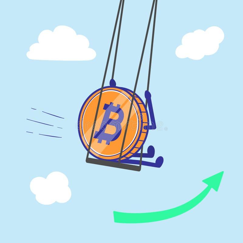 Moneda Crypto Bitcoin en aumento del oscilación y crecer en el ejemplo del vector del aire libre illustration