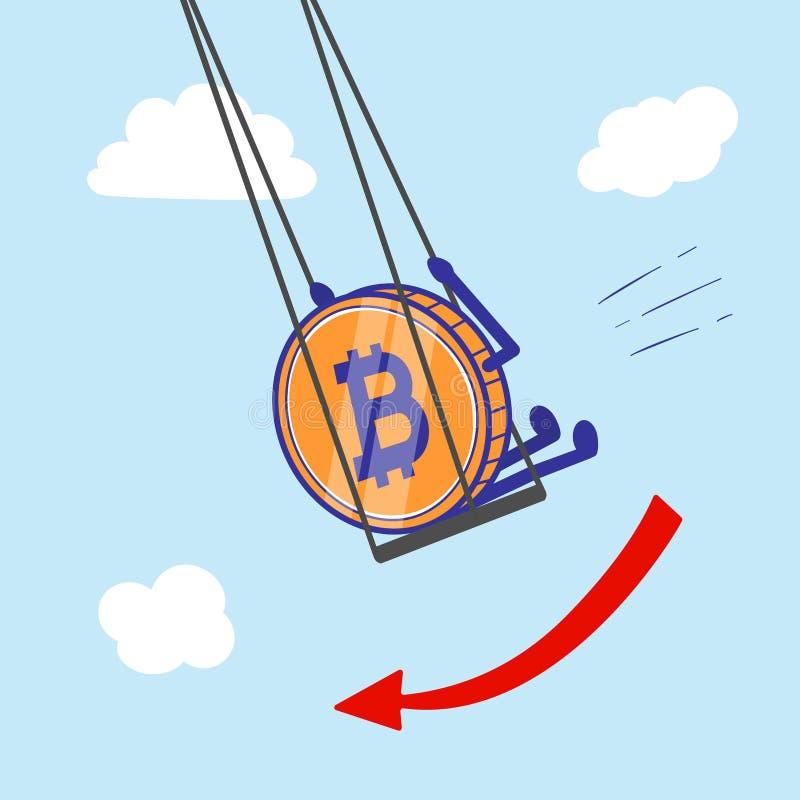 Moneda Crypto Bitcoin en la disminución del oscilación y caída del ejemplo del vector del aire stock de ilustración