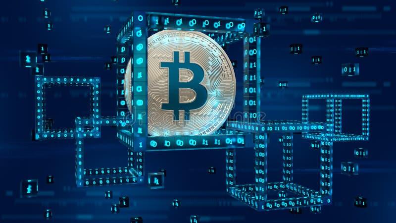Moneda Crypto Cadena de bloque Bitcoin bitcoin de plata físico isométrico 3D bloque digital isométrico 3D con código digital Bloc imagen de archivo