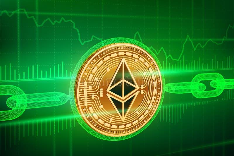Moneda Crypto Cadena de bloque Ethereum moneda de oro física isométrica de 3D Ethereum con la cadena del wireframe Concepto de Bl ilustración del vector