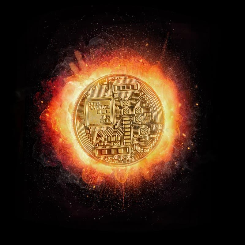 Moneda crypto de Bitcoin con el fuego, aislado en fondo negro libre illustration