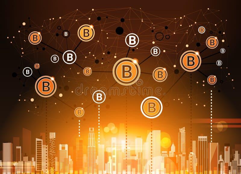 Moneda Crypto de Bitcoins sobre tecnología moderna del dinero del web de Digitaces del fondo de la ciudad ilustración del vector