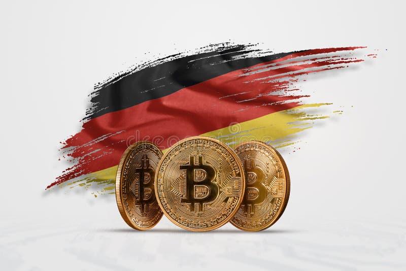 Moneda Crypto, moneda de oro BITCOIN BTC Acuñe el bitcoin contra la perspectiva de la bandera de Alemania El concepto una nueva m stock de ilustración