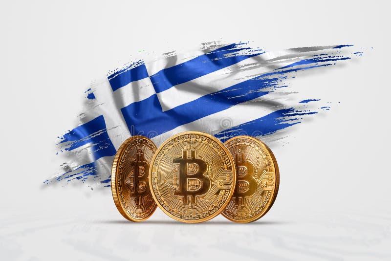 Moneda Crypto, moneda de oro BITCOIN BTC Acuñe el bitcoin contra la perspectiva de la bandera de Grecia El concepto una nueva mon ilustración del vector