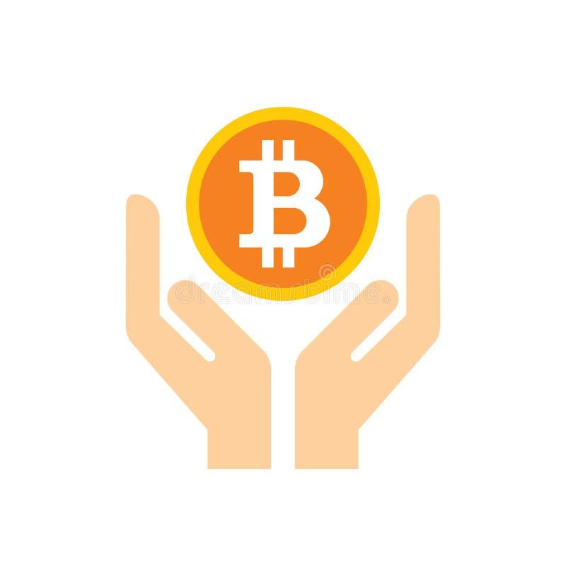 Moneda crypto digital de Bitcoin en llevar a cabo las manos - icono en el ejemplo blanco del vector del fondo para la página web, ilustración del vector