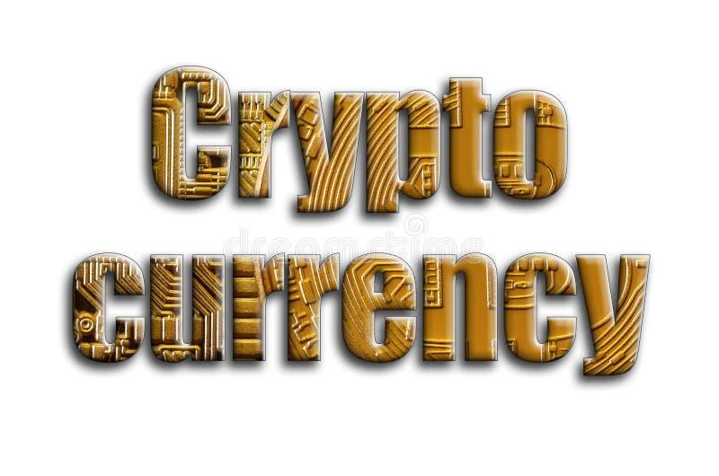 Moneda Crypto La inscripción tiene una textura de la fotografía, que representa varios bitcoins stock de ilustración