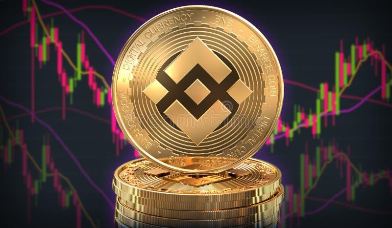 Moneda de Binance delante del intercambio de comercio stock de ilustración