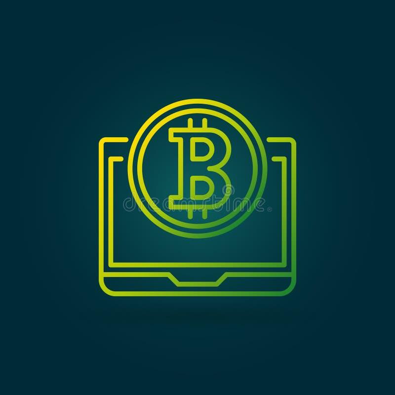 Moneda de Bitcoin con la línea icono o logotipo del vector del verde del ordenador portátil stock de ilustración