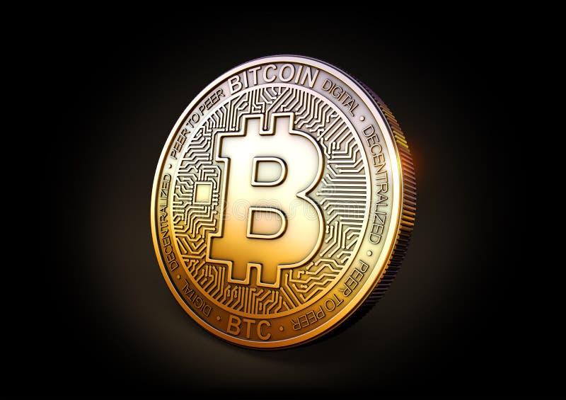 Moneda de Bitcoin - de Cryptocurrency en fondo negro representación 3d, stock de ilustración