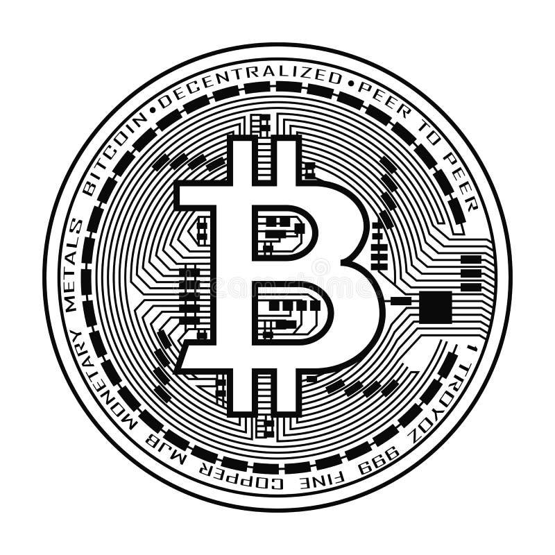 Moneda de Bitcoin en blanco y negro ilustración del vector