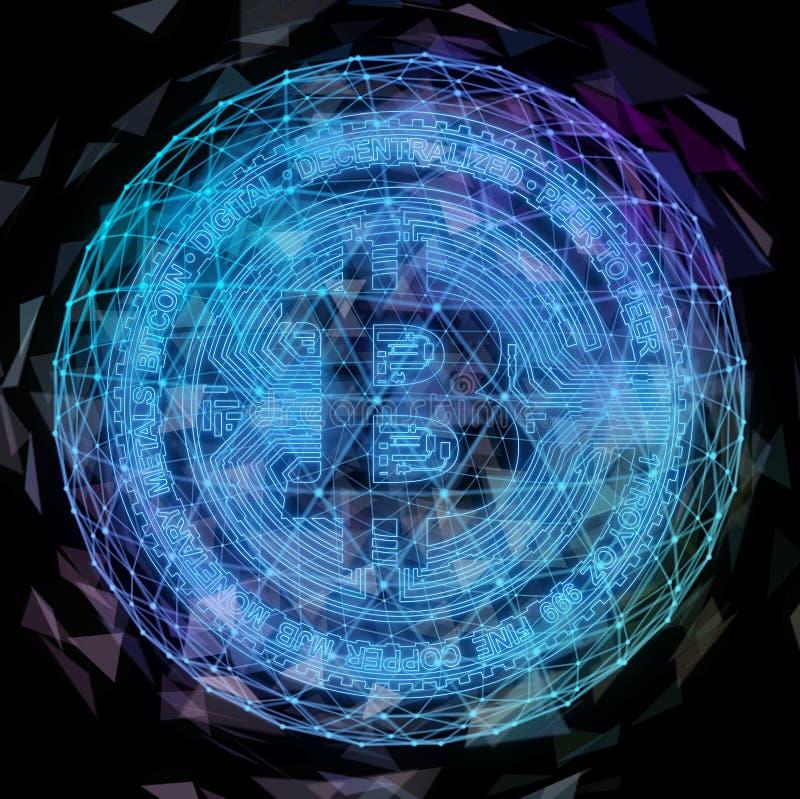 Moneda de Bitcoin en fuego con la carta común comercial del toro Concepto duro de la bifurcación del blockchain del relámpago del ilustración del vector