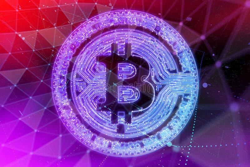 Moneda de Bitcoin en fuego con la carta común comercial del toro Concepto duro de la bifurcación del blockchain del relámpago del libre illustration