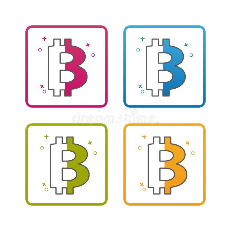Moneda de Bitcoin - esquema diseñó el icono - movimiento Editable - ejemplo colorido del vector - aislado en el fondo blanco libre illustration