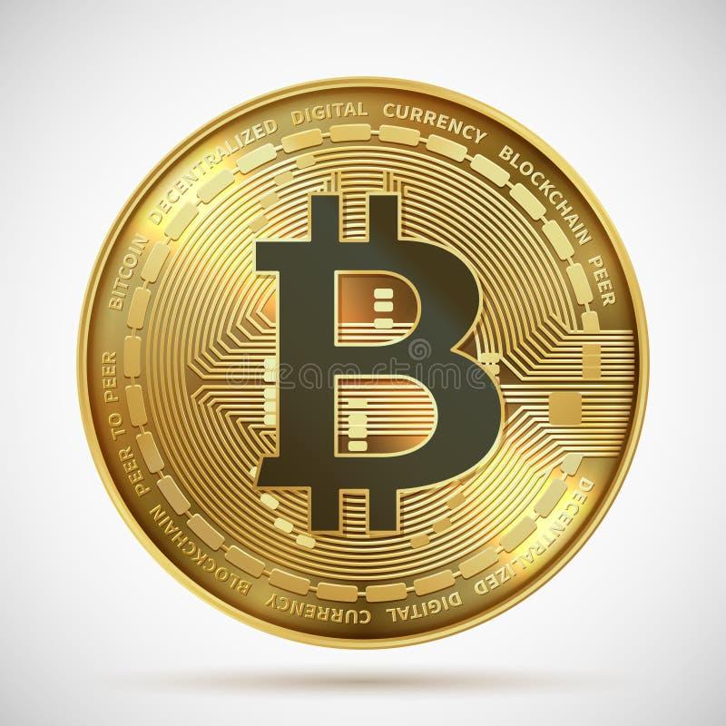 Moneda de Bitcoin Símbolo digital del blockchain del dinero de oro de Cryptocurrency aislado en blanco Moneda crypto del vector stock de ilustración