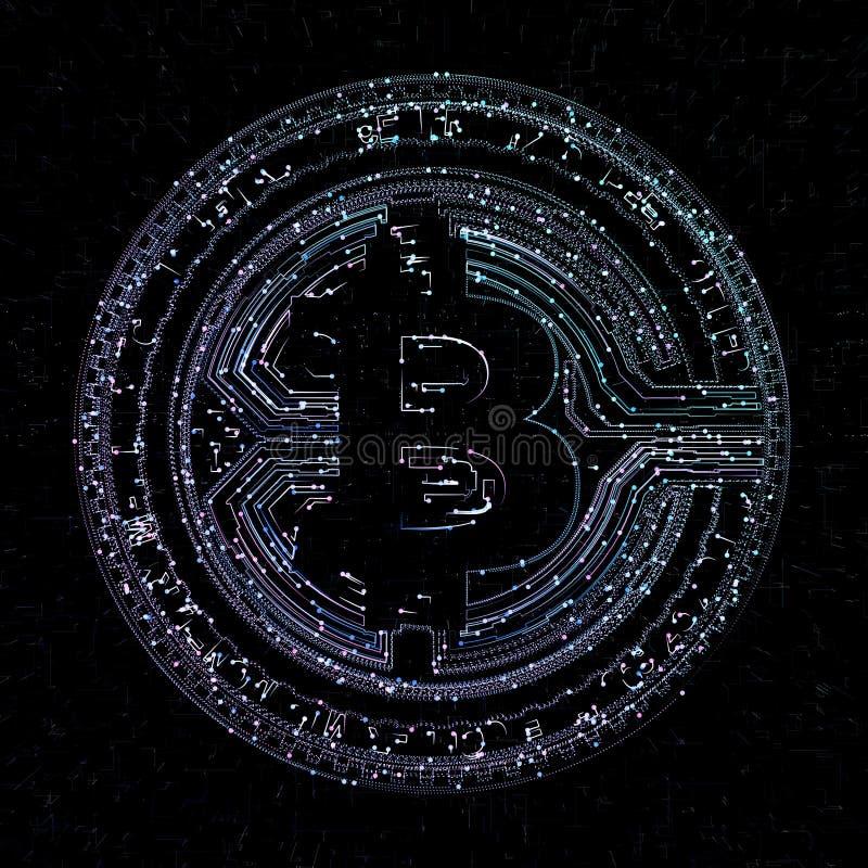 Moneda de Bitcoin y holograma digital del globo del mundo, dinero digital futurista y concepto mundial de la red de la tecnología stock de ilustración