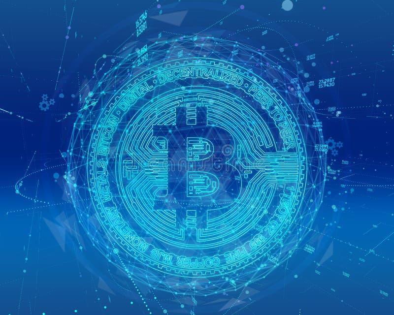 Moneda de Bitcoin y holograma digital del globo del mundo, dinero digital futurista y concepto mundial de la red de la tecnología libre illustration