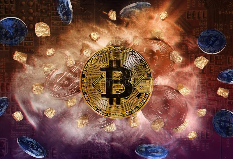 Moneda de Bitcoin y montón de las pepitas de oro fotos de archivo
