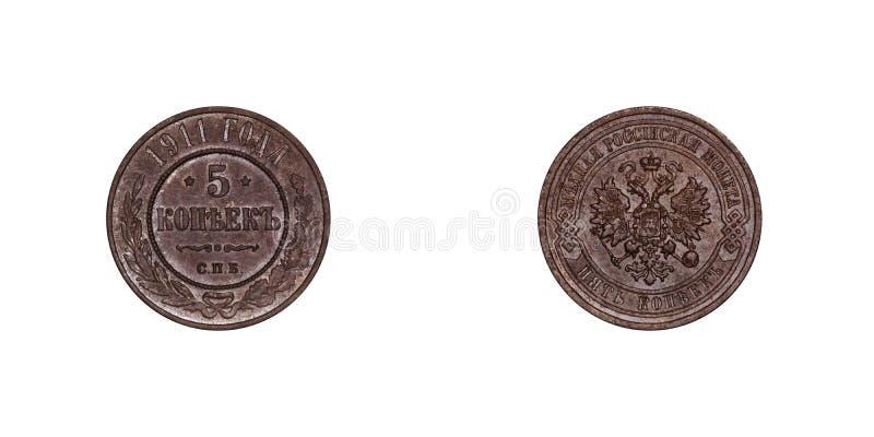 5 moneda de cobre del kopeek 1911 del imperio ruso Nicholas 2 imagen de archivo libre de regalías