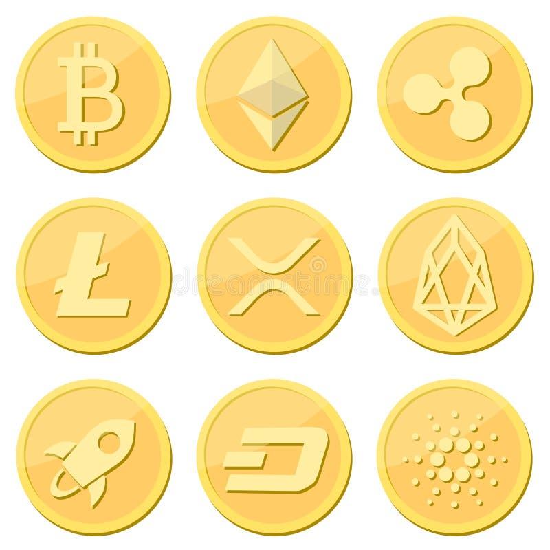 Moneda de Cryptocurrency fijada: el bitcoin, litecoin, moneda de la ondulación, ethereum, rpx, FOE, estelar, rociada, cardaro acu stock de ilustración