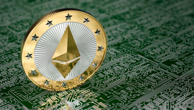Moneda de Ethereum ilustración del vector