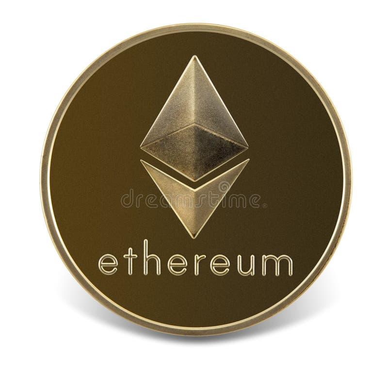 Moneda de Ethereum aislada en el fondo blanco imágenes de archivo libres de regalías