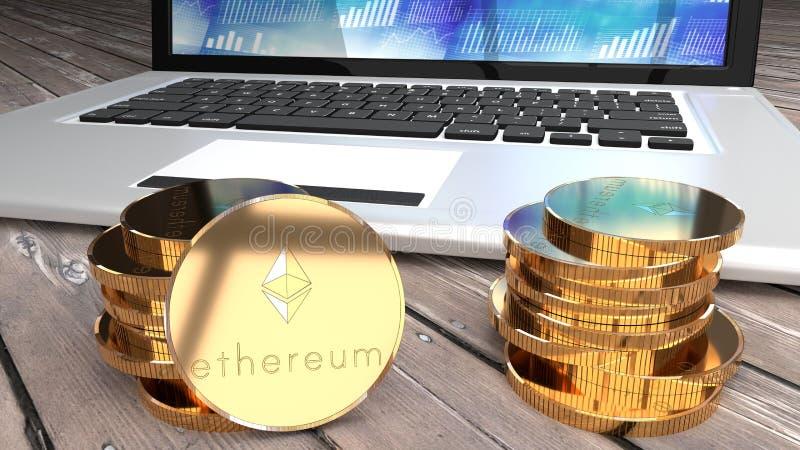 Moneda de Ethereum, alternativa del bitcoin, ordenador en el fondo ilustración del vector