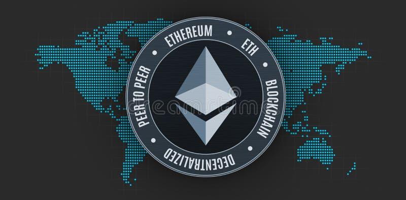 Moneda de Ethereum sobre mapa del mundo ilustración del vector