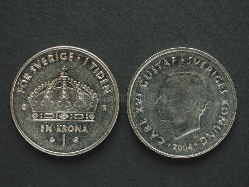 1 moneda de la corona sueca (SEK) fotos de archivo libres de regalías